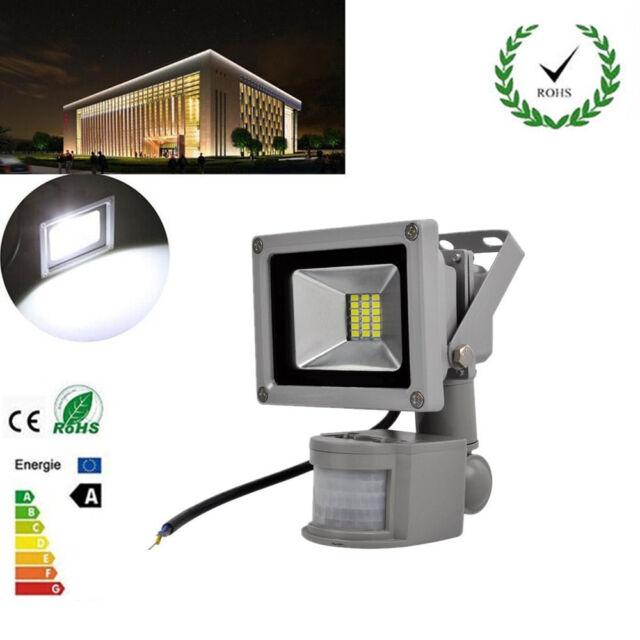 20W White SMD LED Flood Light PIR Sensor Outdoor Garden Path Security Lamps IP65