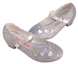 Detalles de Niña Infantil Plata Purpurina Brillante Fiesta Mary Jane Zapatos Tacón bajo Moda