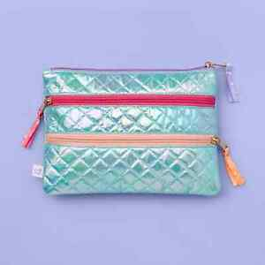 More Than Magic 3-Pocket Holographic Quilted Heart Zipper Pencil Pouch