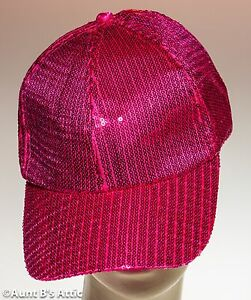 4b01e540 Baseball Cap Fuchsia Sequin Hat Sparkle Disco Fun Novelty Cap   eBay