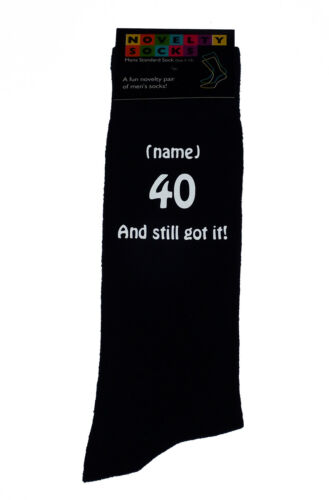 40 And Still got it and Personalised Mens Black Socks Great 40th Birthday Gift