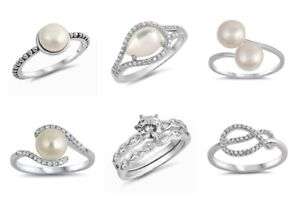 NEW-Sterling-Silver-WEDDING-SET-MOTHER-OF-PEARL-KNOT-CZ-RINGS-SIZES-4-10