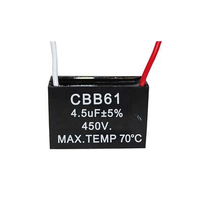 2PCS 500V 4.5UF CBB61 Ceiling Fan Motor Running Capacitor 2 Wire 50//60 Hz