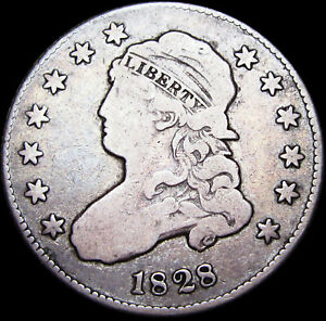 1828 Capped Bust Quarter Dollar   ---- Nice Condition RARE Type Coin  ---- #F887