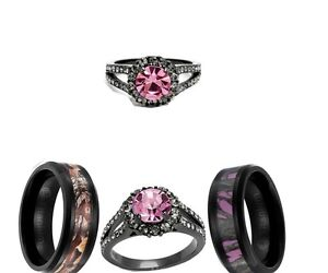 HIS AND HER BLACK PINK TITANIUM CAMO HER CZ SST 3pcs WEDDING