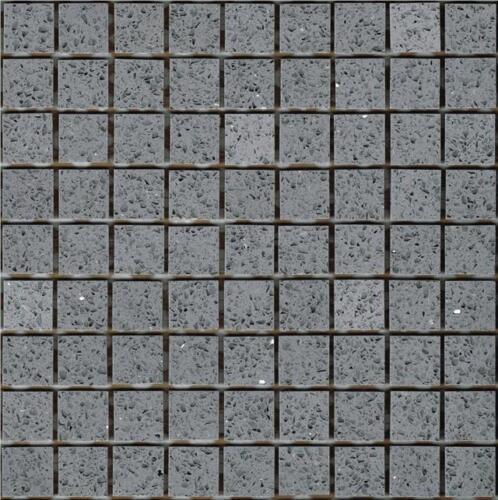 Échantillon de gris starlight Stardust Quartz Mosaïques feuille carrelage Splashback