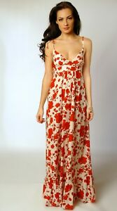 Topshop-Floral-Strappy-Lightweight-Cotton-Summer-Beach-Cruise-Maxi-Dress-Size-12