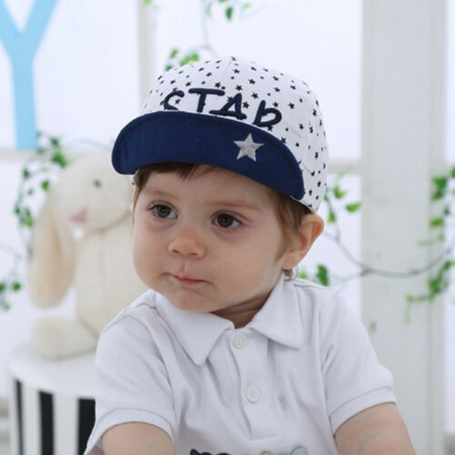 Baby Kids Visor Cotton Baseball Cap Newborn Boy Girl Star Letter Printed Hats