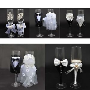 Bride-amp-Groom-Mr-Mrs-Champagne-Glasses-Flutes-Toasting-Wedding-Decorations-Gifts