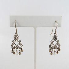 """STERLING SILVER Vtg Ornate Dangle Earrings 1.75"""" (3.5g)"""