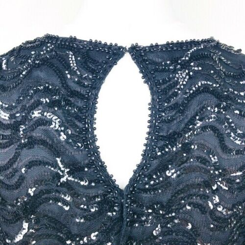 Sequinned 14 Occassion 12 Evening Uk Top Vintage Sudi Large Black Creations OPWnw1qat