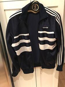 c6d22540d4c35 Details about Vintage 80s Adidas Trefoil Track Jacket Blue Striped Jogger  Small Med Triacetate