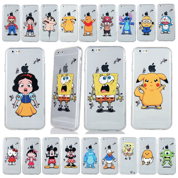 transparent Cute ultrathin Cartoon TPU soft back Case For iPhone 4 5 5S 6 6 plus