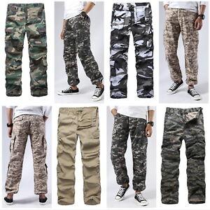 Para-Hombre-De-Combate-Milicia-Cargo-Pantalones-de-trabajo-al-aire-libre-campamento-caza-Camo