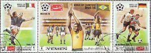 Yemen-UK-1150A-1152A-triple-strip-fine-used-cancelled-1970-Winner-Football-W