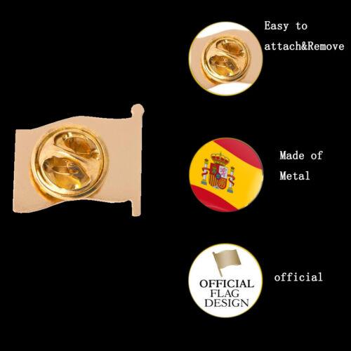 Spain Waving National Flag Gold Plated Courtesy Enamel Lapel Pin Badge