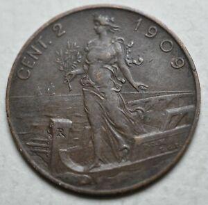 1909-R-Kingdom-Italy-2-Cents-King-Vittorio-Emanuele-III