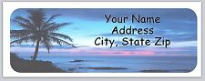 30 Personalized  Return Address Labels Beach Palm Trees Buy 3 get 1 free(bo 742)