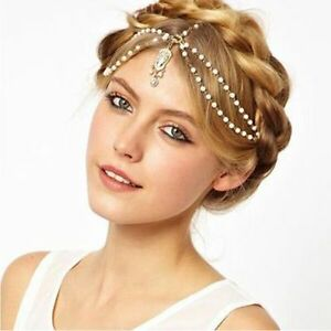 Women-Festival-Tassels-Pearl-Head-Chain-Headband-Headpiece-Hair-Band-UK-Seller
