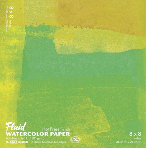 15 Sheets Fluid Hot Press Easy Block Watercolor Paper 8 x 8 Inches