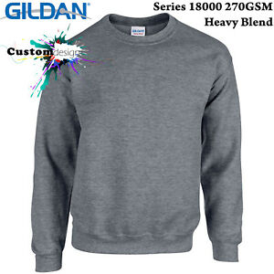 Gildan-Dark-Heather-Heavy-Blend-Basic-Sweater-Jumper-Sweatshirt-Mens-S-XXL