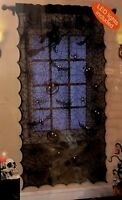 Black Halloween Lighted Lace Window Curtain 1 Panel 20 Count Battery Bat Pumpkin