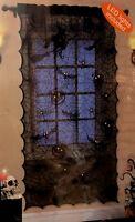 Black Halloween Lighted Lace Window Curtain 1 Panel 20 Count Battery Bat Pumpkin