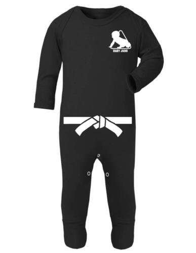 """Baby Sleep Suit Baby Romper /""""Baby Judo with White Belt/"""" Judo Baby Strong Baby"""
