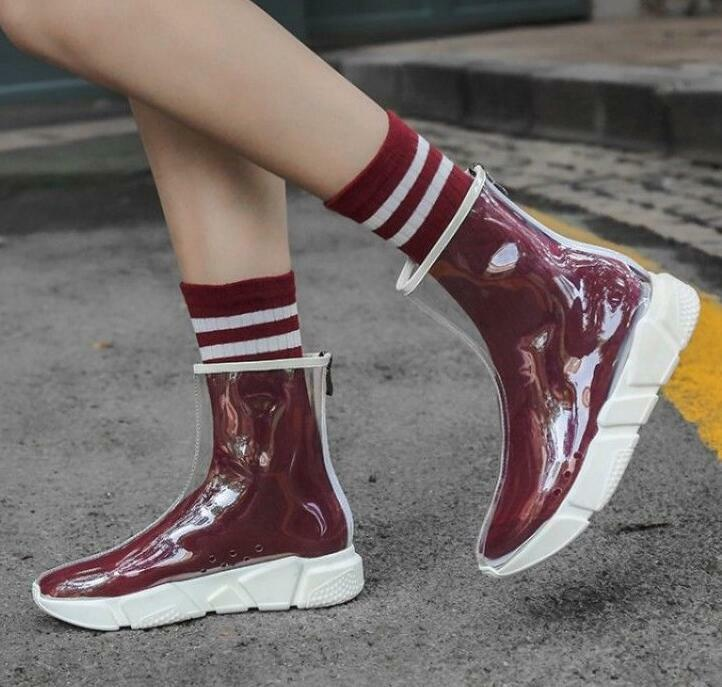Sz35-41 femmes Clear Transparent Ankle démarrage Back Zip Clubwear Party Casual chaussures