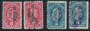 US-SCOTT-RD-13-AND-RD-16-REVENUE-STAMPS-4-STOCK-TRANSFER