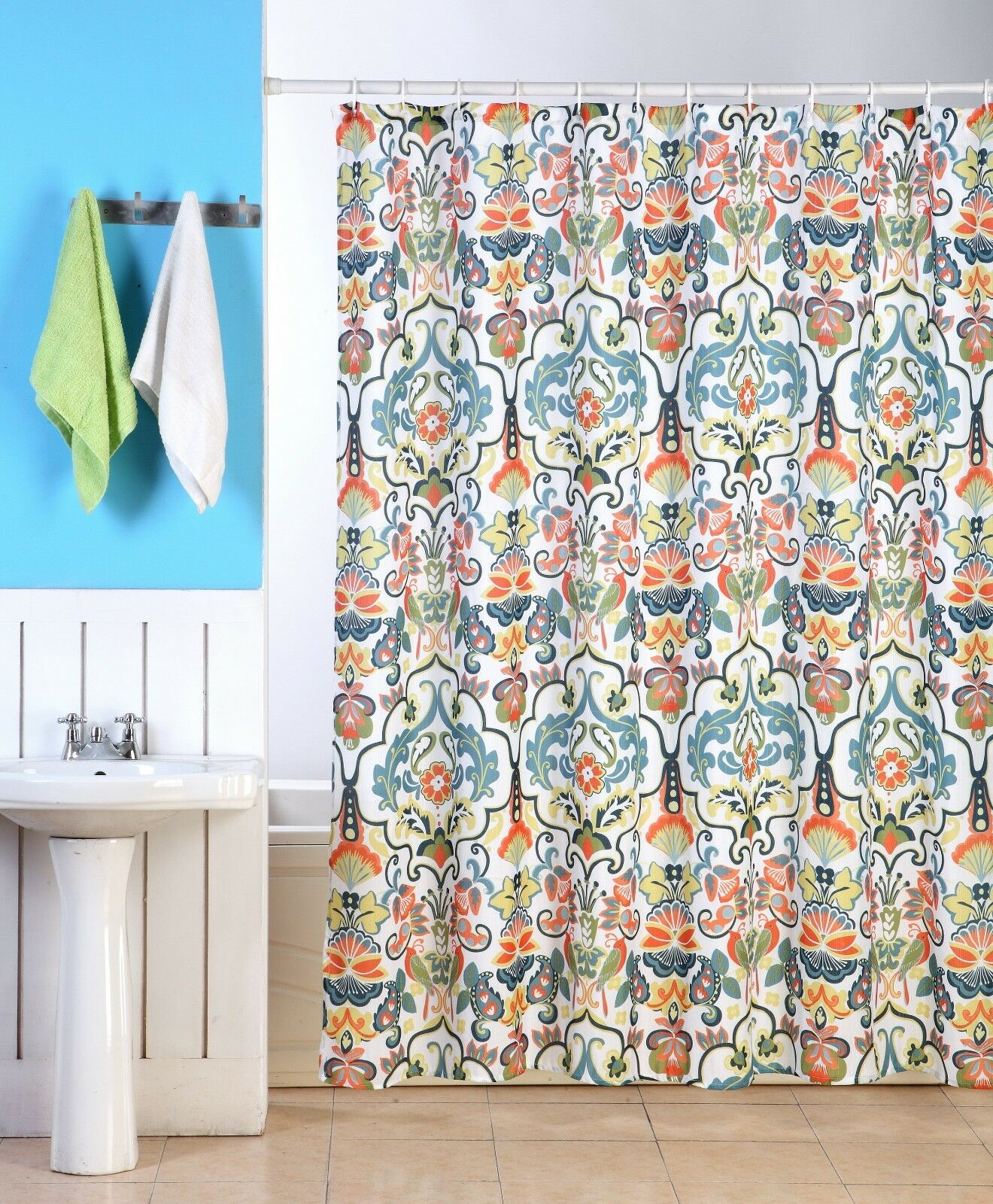 Emery fabric shower curtain colorful damask floral Colorful shower curtains