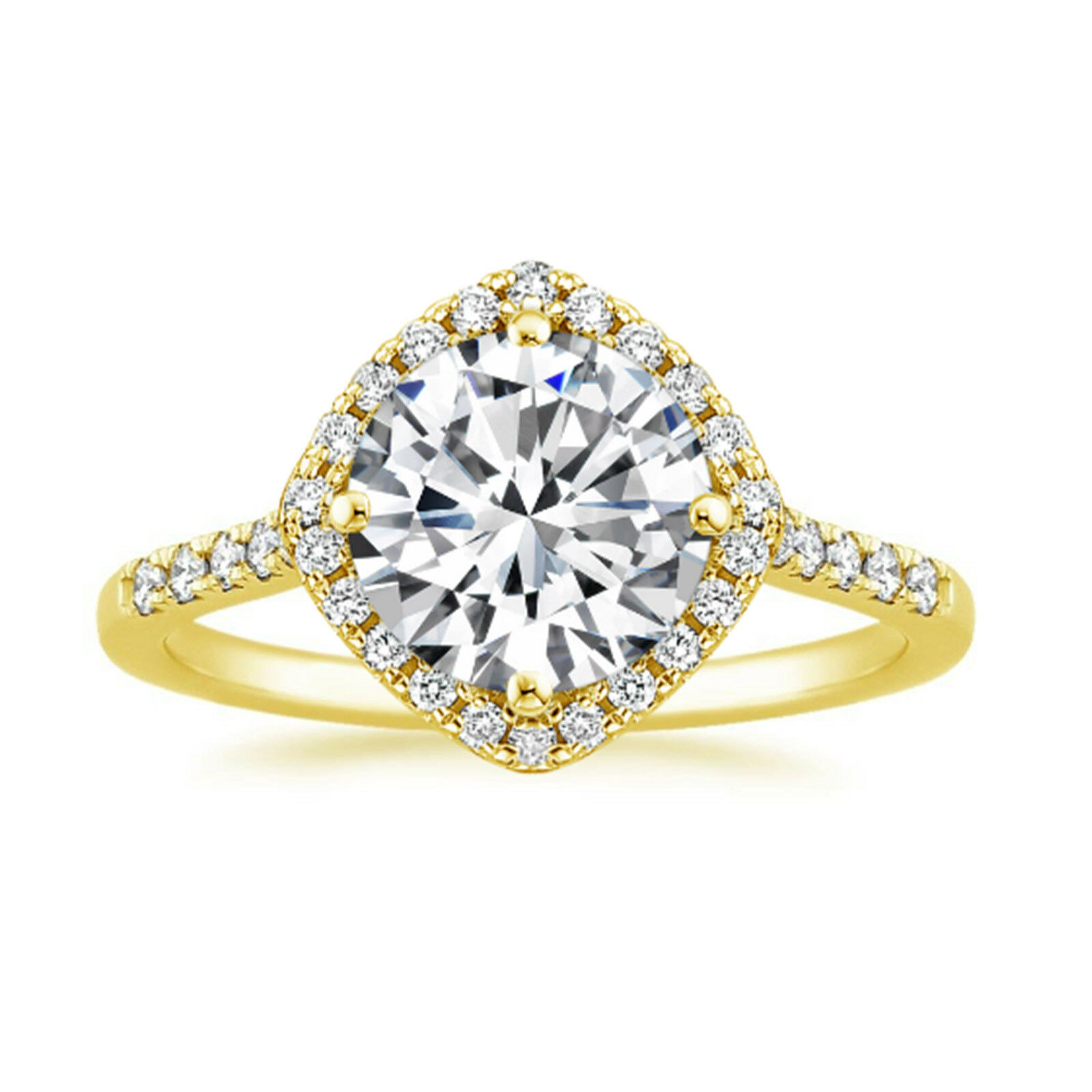 0.95 Ct Round Cut Diamond Engagement Ring 14K Solid Yellow gold Womens Size 6 7