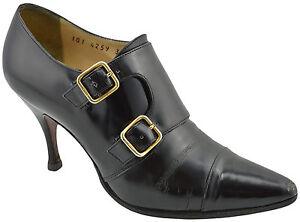 795-GUCCI-en-cuir-noir-double-sangle-Bottillons-Cheville-Bottes-Chaussures-35-5-5-5