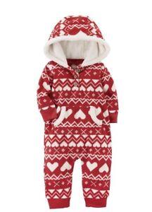 b131db67e967 Carter s Baby Girl Fair Isle Fleece Hooded Jumpsuit Red White Hearts ...