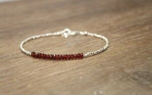 Garnet-amp-Hill-Tribe-Silver-Faceted-Gemstone-Beaded-Bracelet-925-Silver-Clasp-7-5