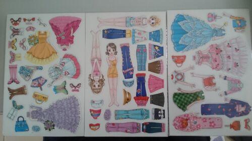 Magnetic Dress Up Dolls 3 Sheets Defect Girls Princess Kids Fridge Magnet Set