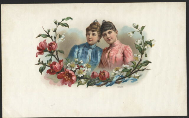 LA6023 INNER CIGARBOXLABEL LITHO  VICTORIAN TWIN SISTERS COLORED 1910