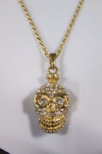 Women-Gold-Metal-Chains-Jewelry-Necklace-Skeleton-Pendant-Skull-Pirate-Head-Face