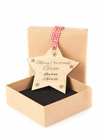 Personalised Engraved Star Hanging Christmas Decoration Any Message Gift in Box