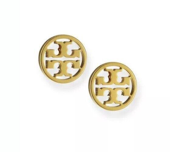 Tory Burch Logo Circle Stud Earrings with Gift Box