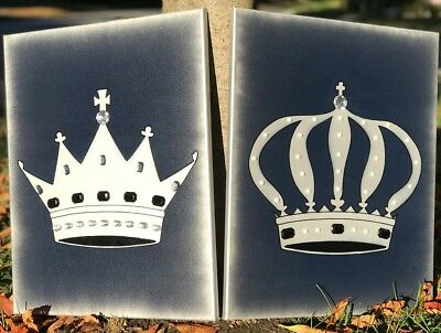 Decorative King /& Queen Crown Stencil Paintings Set of 2-16 x 20 Canvas