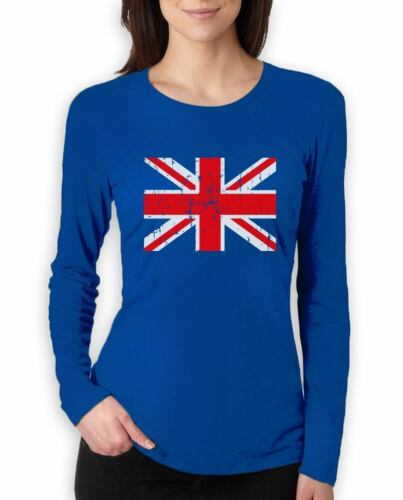 UK Flag Vintage Style Retro United Kingdom Women Long Sleeve T-Shirt Gift Idea