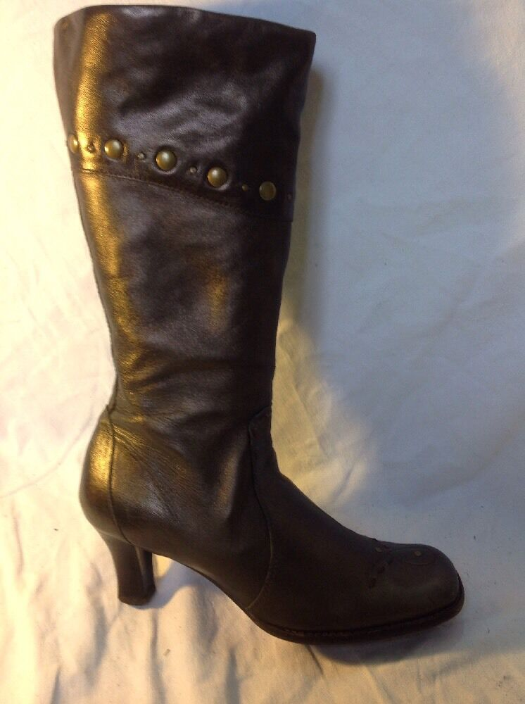 Clarks Dark Brown Mid Calf Leather Boots Size 5
