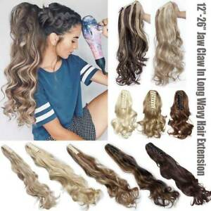 Highlight-Thick-Real-Claw-Ponytail-Clip-In-Hair-Extensions-Pony-Tail-As-Human-US