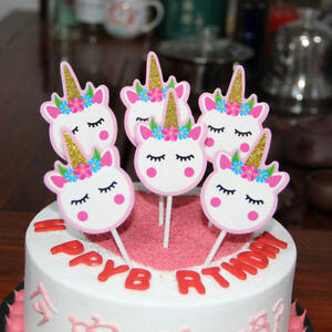 Image Is Loading 12pcs Unicorn Cake Picks Cupcake Toppers Flags Happy