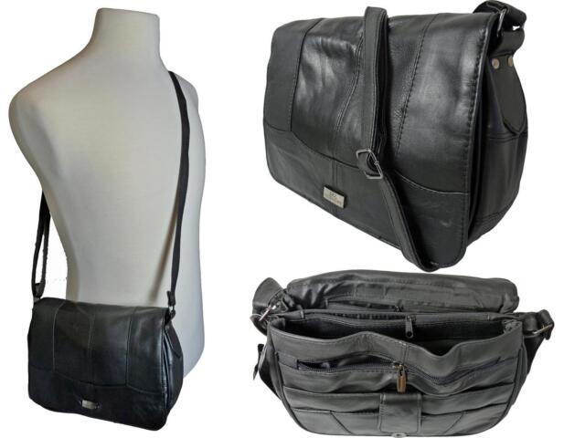 Ladies Womens Cross Body HandBag Black Real Leather Shoulder Hand Bag Bags QL966