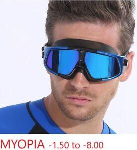 Myopia-Swimm-Mask-Goggles-Anti-Fog-UV-Shortsight-Glasses-Mirrored-Large-Frame