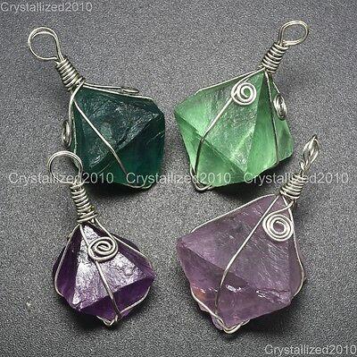 Natural Gemstone Amethyst Fluorite Rhomb Reiki Chakra Pendant Beads Wire Wrap
