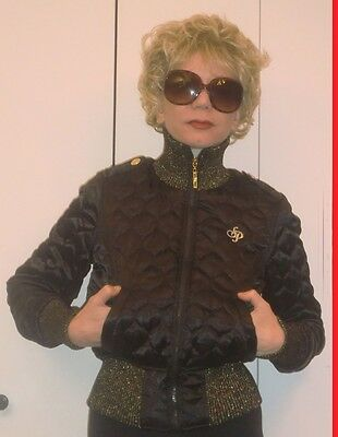 STUNNING GOLD & BLACK SOUTH POLE QUILTED PUFFER JACKET W/LOGOS SHOULDER STRAPS S