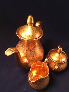 Image is loading Vintage-gold-plated-Tea-set-by-Wheeling-Decorating- & Vintage gold plated Tea set by Wheeling Decorating Tea Pot Sugar ...